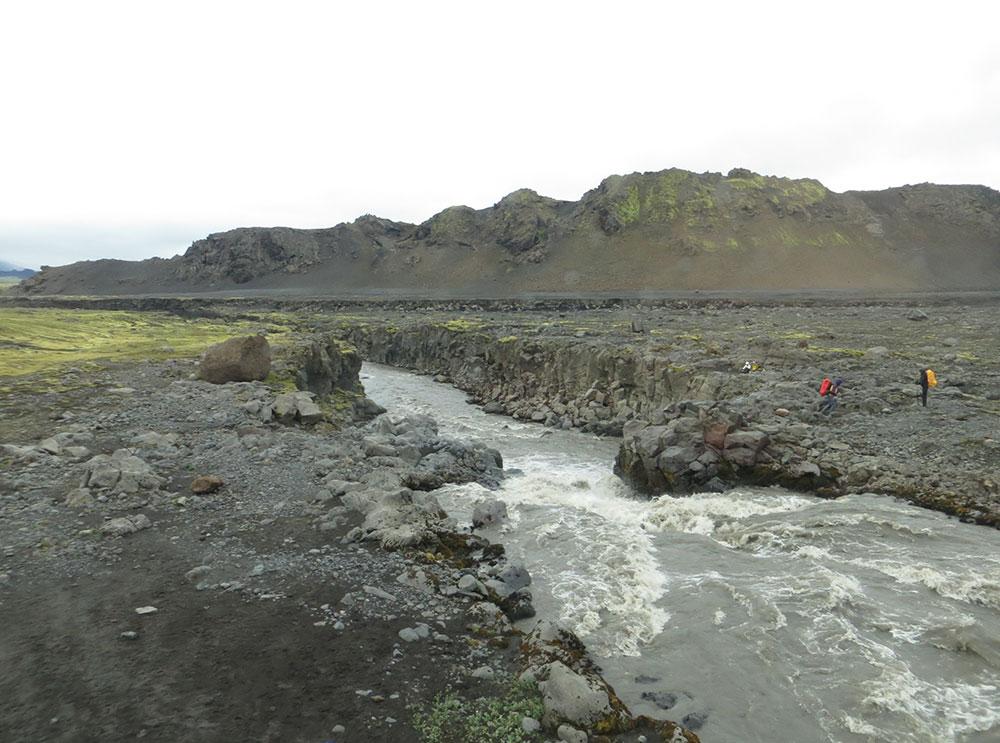 Rivière trek du Landmannalaugar
